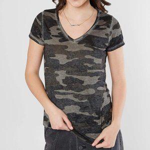 Lucky Brand Burnout Gray Black Camo V Neck T Shirt